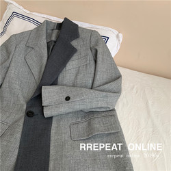 RREPEAT/2020 new female Korean version loose design sense niche casual color matching big brother silhouette suit jacket