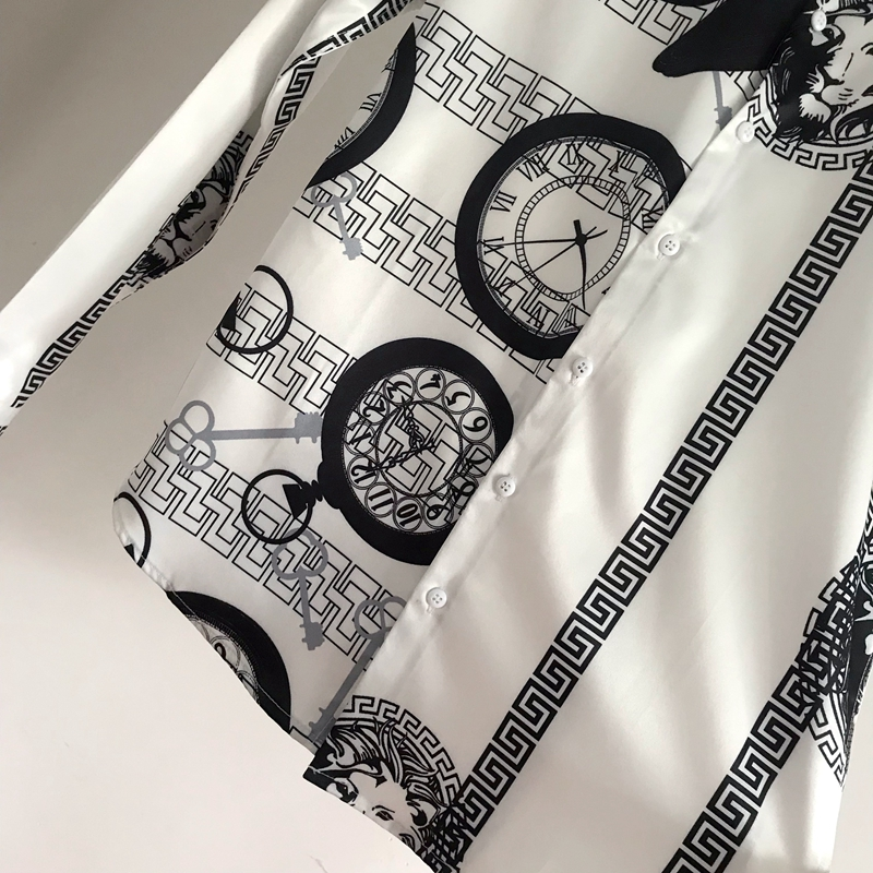Europe and the United States tide brand Korean version of hairstylist shirt young men slim personality fashion asymmetrical print long-sleeved shirt 32 Online shopping Bangladesh