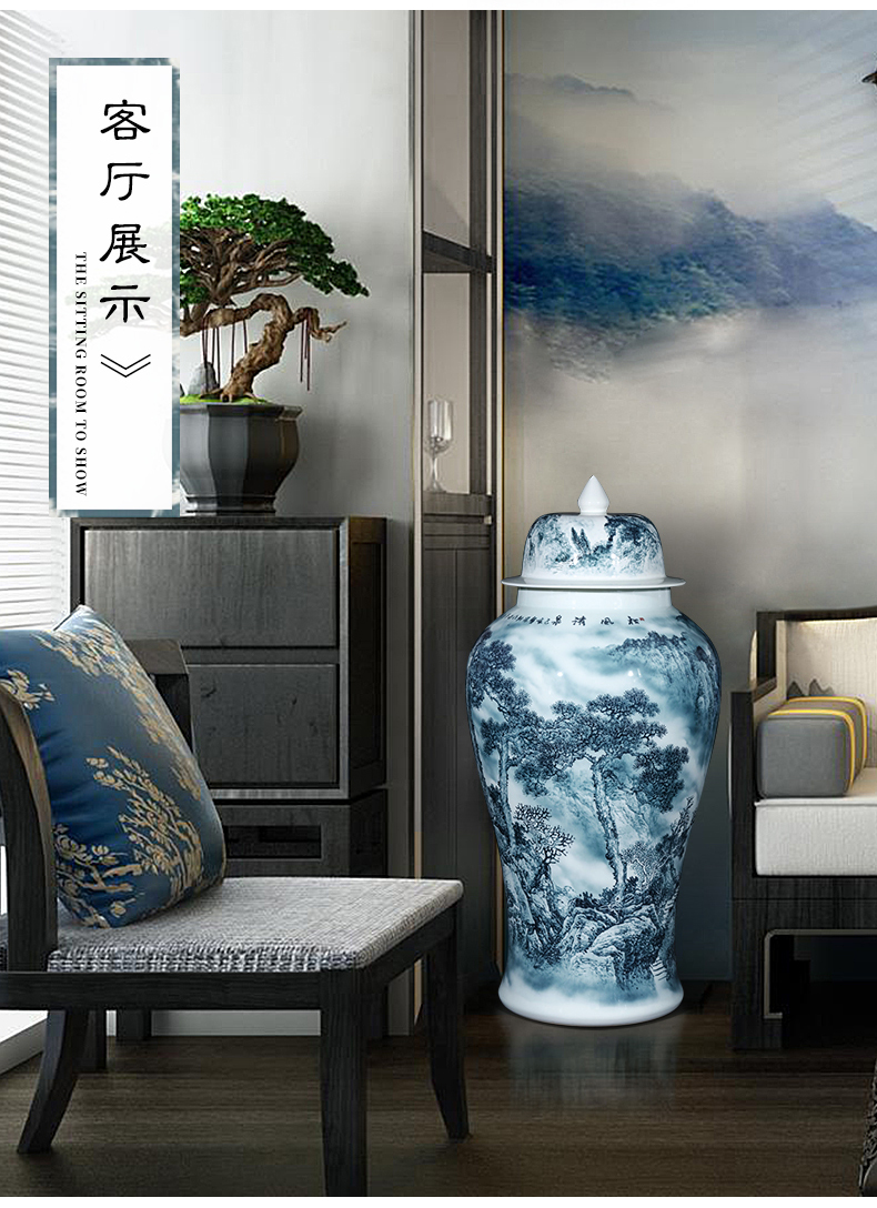 Jingdezhen ceramics general tank hand - made color ink extra large storage tank is archaize sitting room adornment is placed on the ground