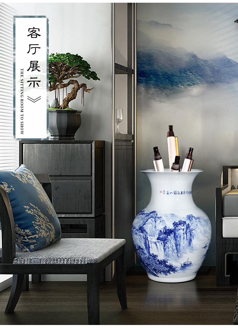 Jingdezhen blue and white sitting room hotel porcelain vase hand - made ceramics archaize floor large opening gifts furnishing articles
