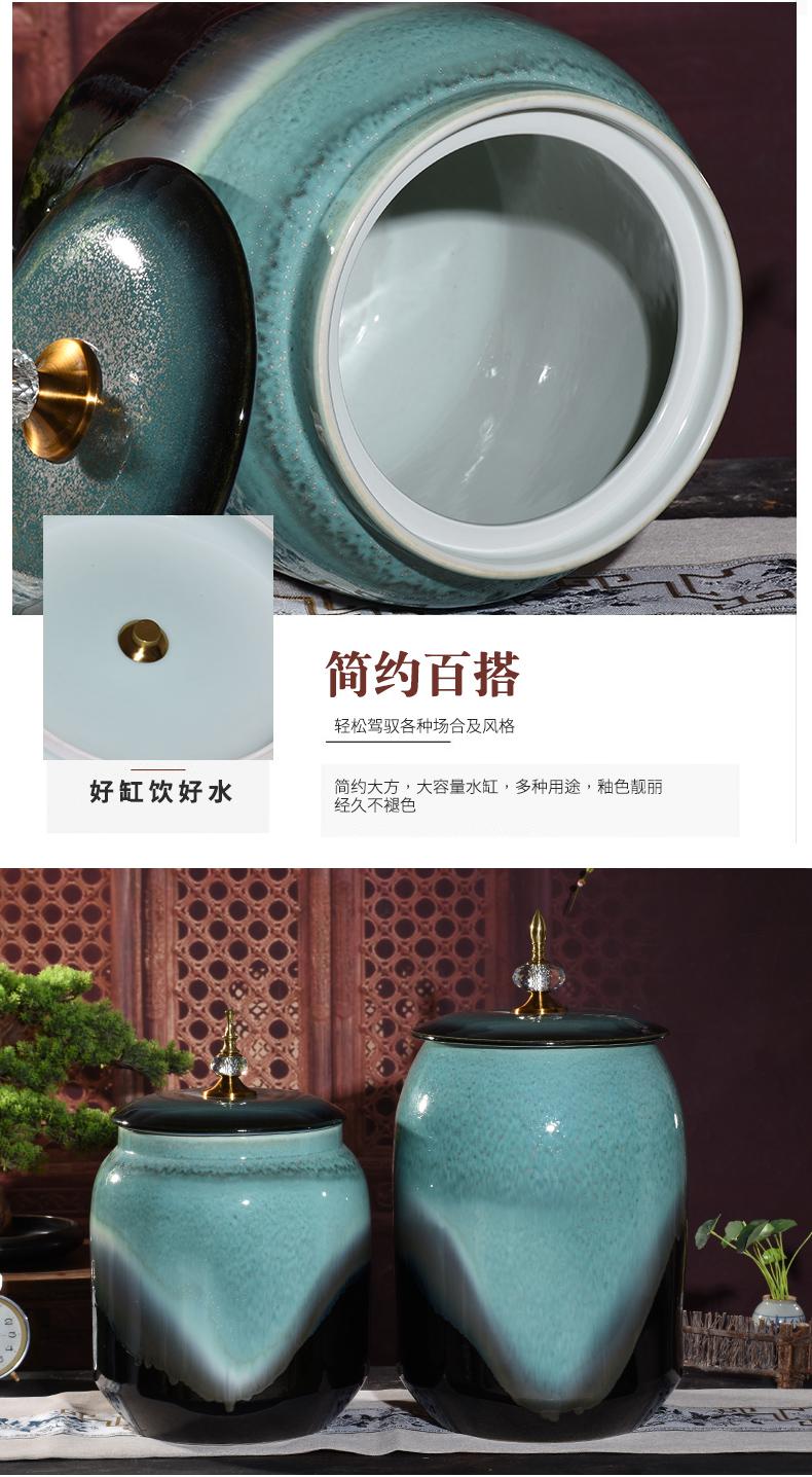 Jingdezhen ceramic barrel water storage tank moistureproof kitchen oil cylinder ricer box 30 jins retro 50 kg sealed with cover cylinder