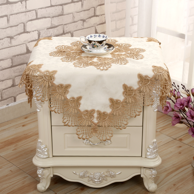 Bedside Table Cover Cloth Simple Small Square European Lace Refrigerator Dust Cloth Bedside Table Cover Towel Tablecloth