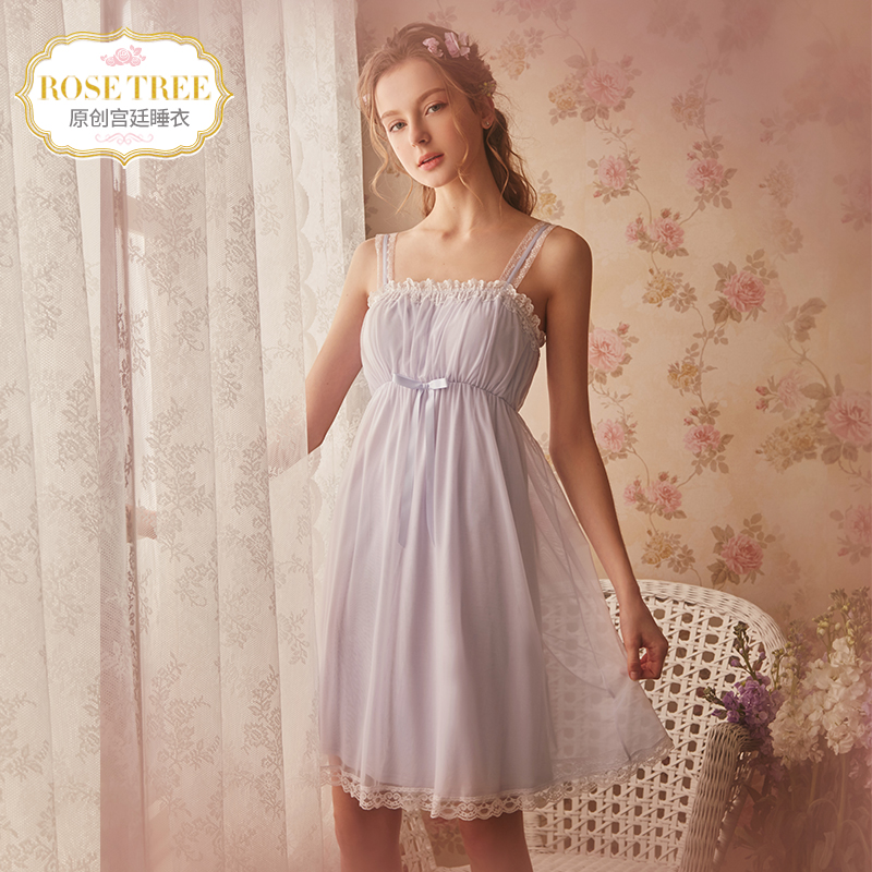 Rosetree Princess suspenders nightdress female summer sexy lace court  pajamas with chest pad modal home service 0c3cbb86b