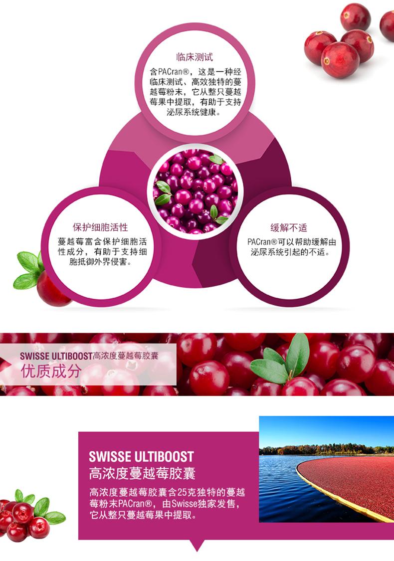 澳洲进口高浓缩swisse蔓越莓胶囊呵护泌尿系统保养卵巢30粒装 运动营养 第4张