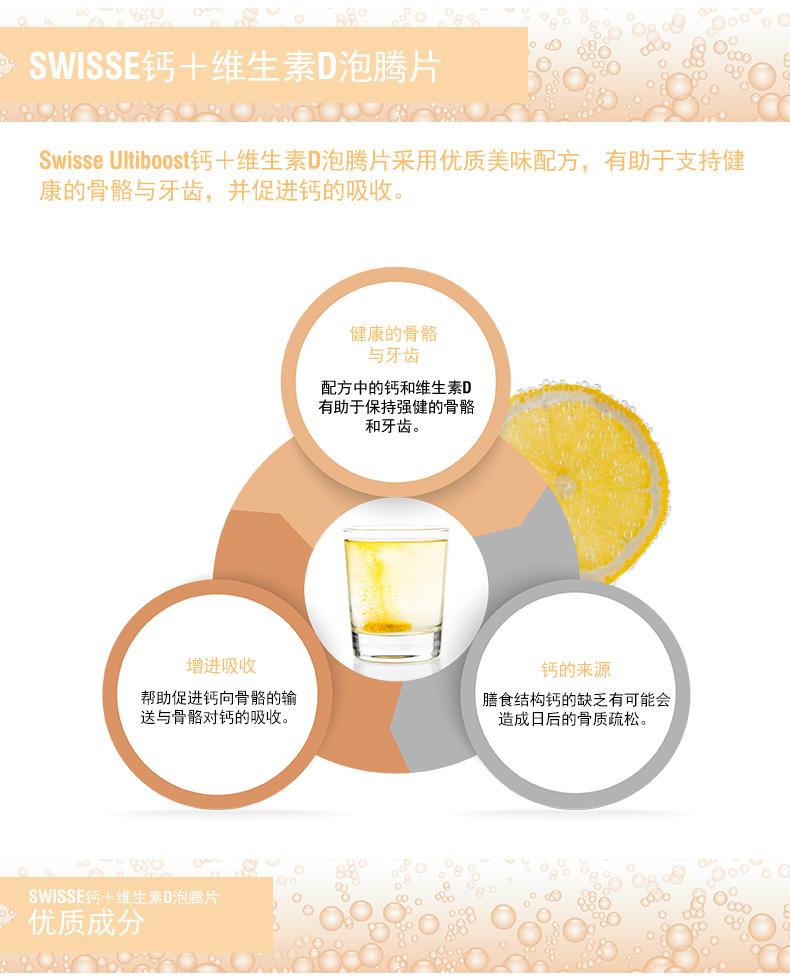 澳洲进口swisse钙+维生素D泡腾片60片中老年成人补钙补钙维D钙 超级食品 第2张