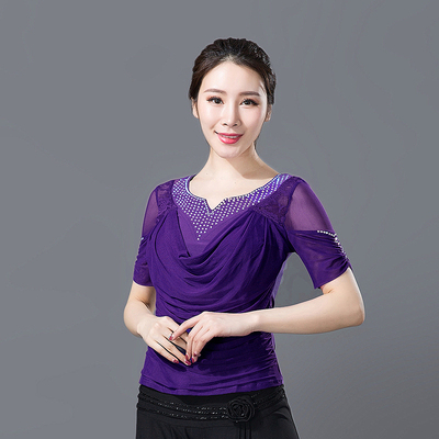 Seventeen Adult Female Latin Dance Dress Top Modern National Standard Square Dance Dress Short Sleeve Top