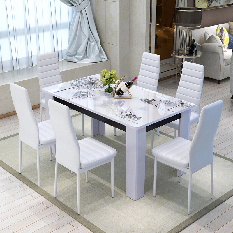 Dinette Combination Simple Modern Six Person Dining Table Rectangular Solid Wood Household Small Apartment 4