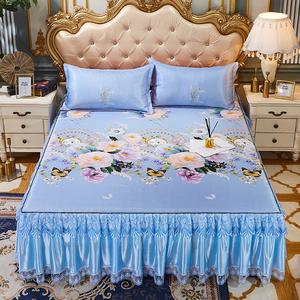 夏天床裙凉席三件套可折叠空调软席可机洗水洗床罩冰丝席防滑1.8m