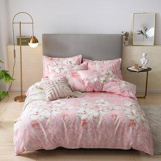 A family of four cotton bedding cotton floral four sets of high-quality network red section single double double