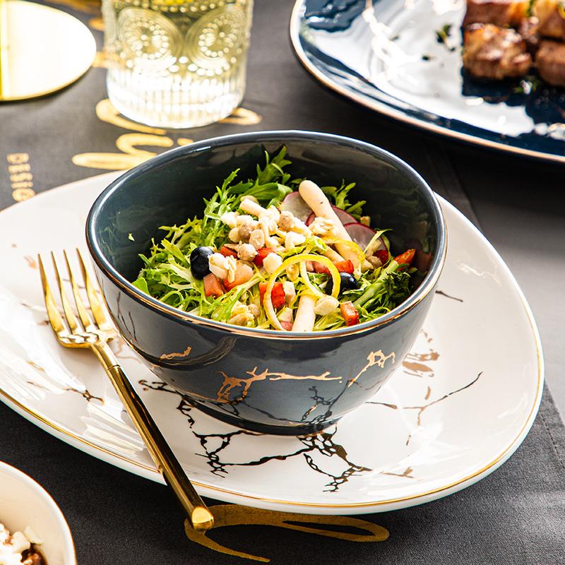 北欧轻奢餐具金边大理石纹碗碟套装家用现代高档简约碗盘不规则形