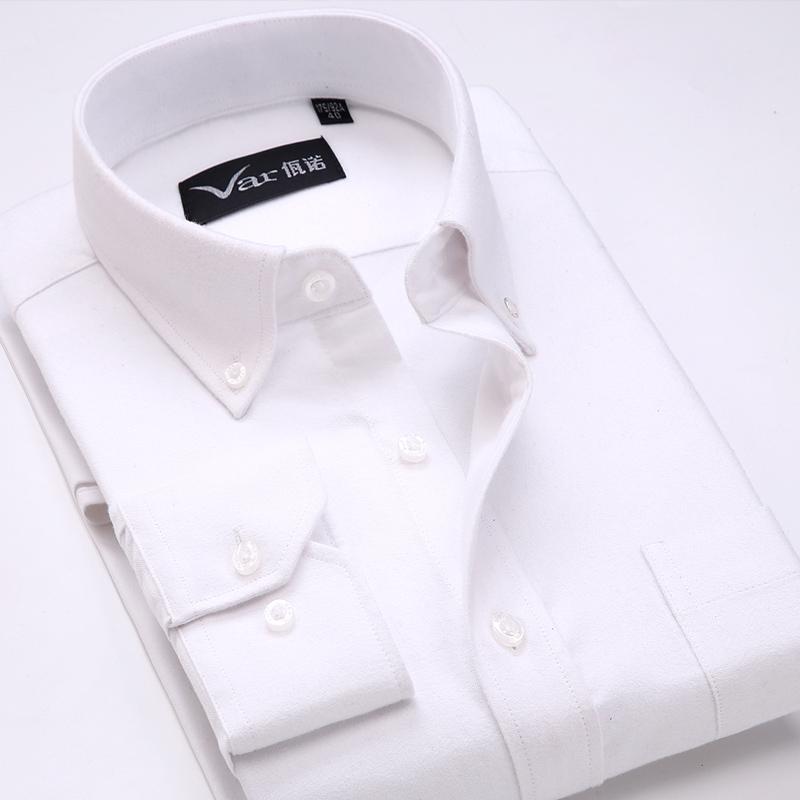 高品质纯棉拉绒牛津纺男士长袖衬衫中年厚纯色式休闲寸衣佤诺秋季