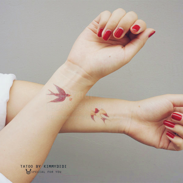 6dbad7557438d Tower rabbit original wrist tattoo ink color flying bird Swift small fresh  tattoo waterproof tattoo stickers men and women