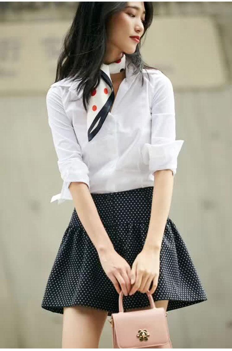 欧阿玛施旗春装新款简约百搭纯色修身衬衫职业长袖白衬衫女详细照片