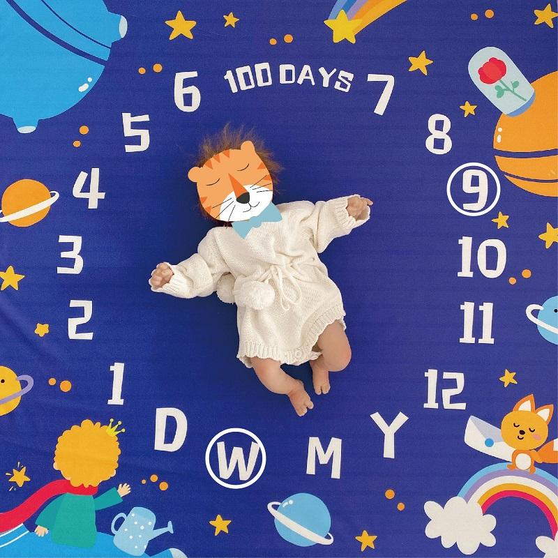 ins宝宝拍照背景布儿童摄影道具婴儿满月百天月份摆拍毯原创拍摄