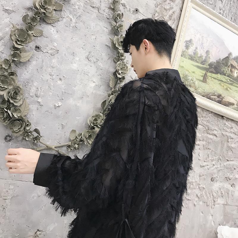 韩国秋季设计师走秀款黑白精致立体羽毛宽松显瘦外套开衫男女可穿