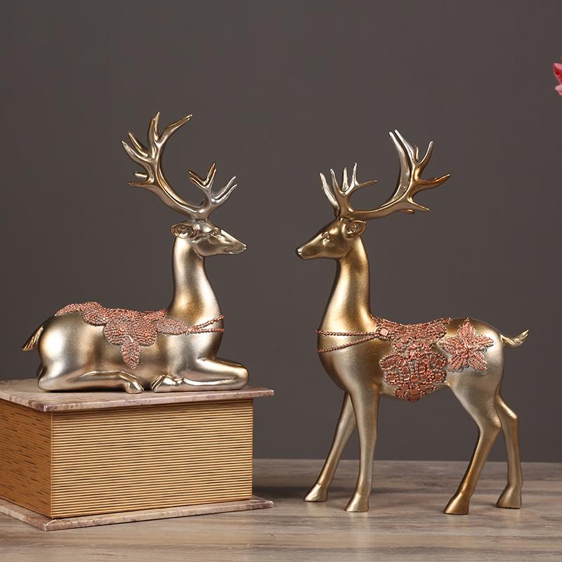 欧式情侣鹿电视柜动物摆件创意工艺品个性礼物客厅酒柜装饰品摆设