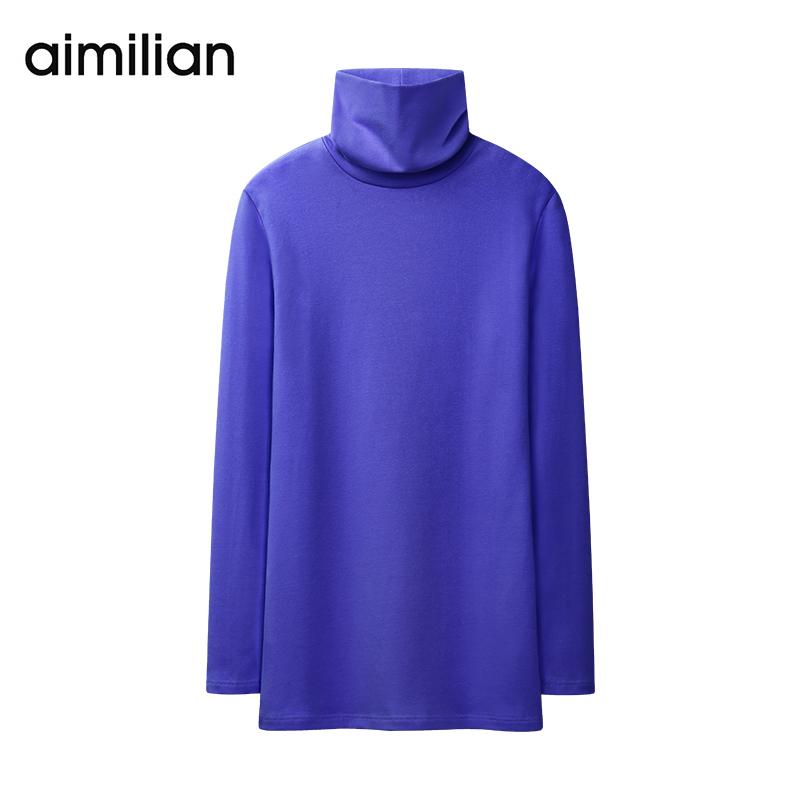 艾米恋高领打底t恤女秋冬体恤套头紧身修身上衣中长款长袖纯色衫
