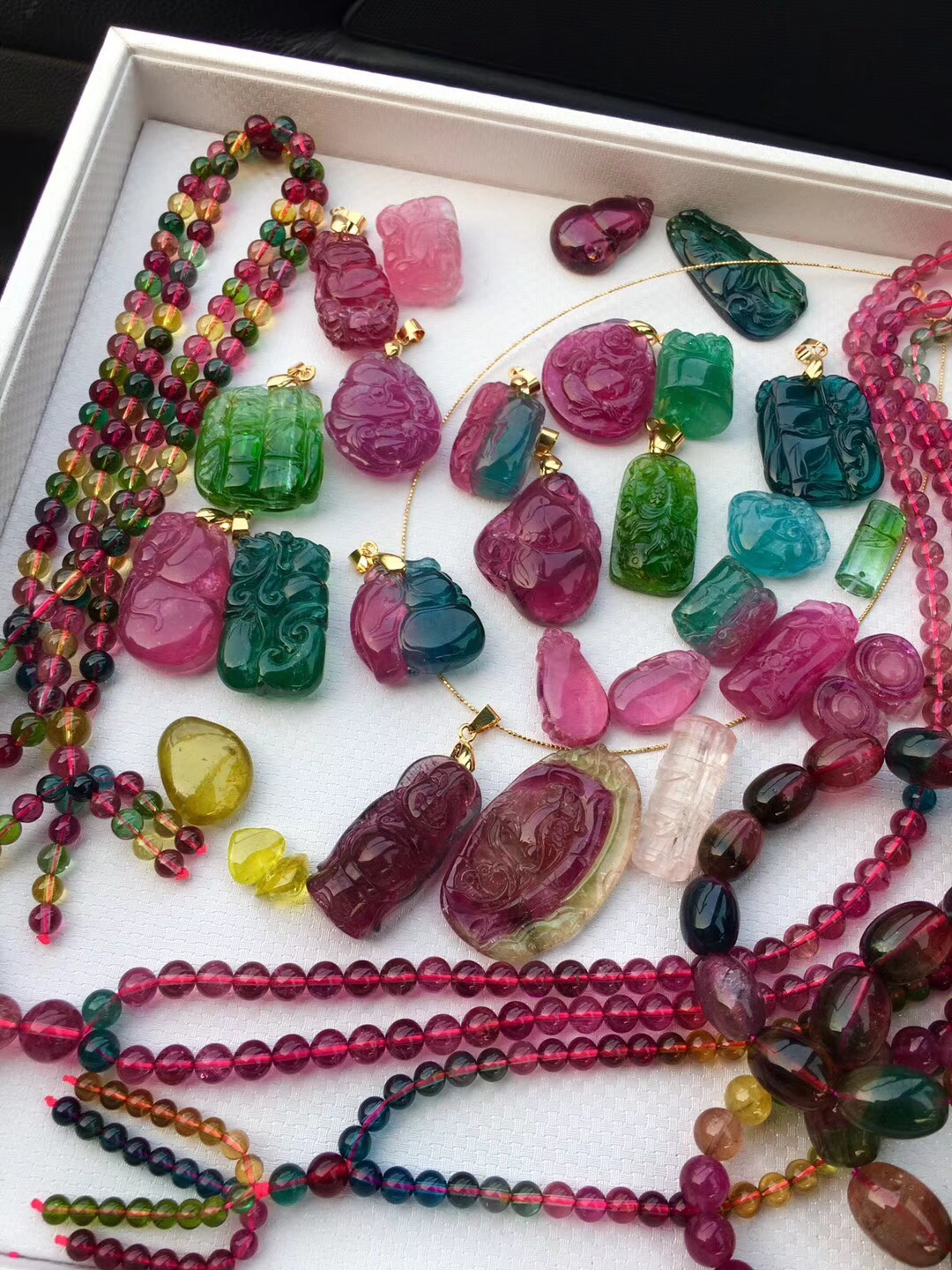 natural brazilian lady tourmaline pendant tag carved sweater chain