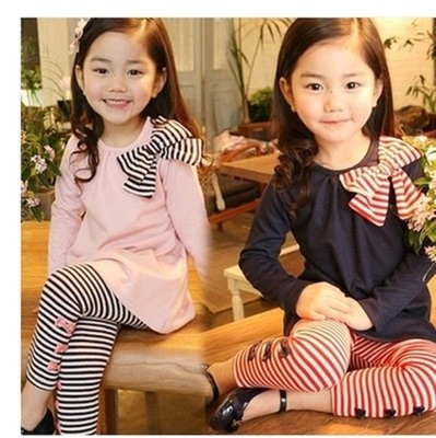 Girls spring 2017 children's baby suit Korean children's clothing in the striped two-piece set of spring and autumn children's wear