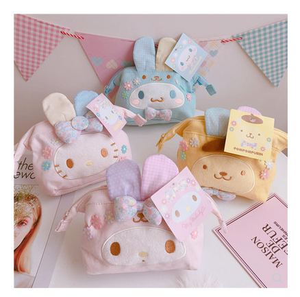 Japanese girl heart melody pudding dog Yugui dog Easter makeup bag to collect bag zero purse as a bag