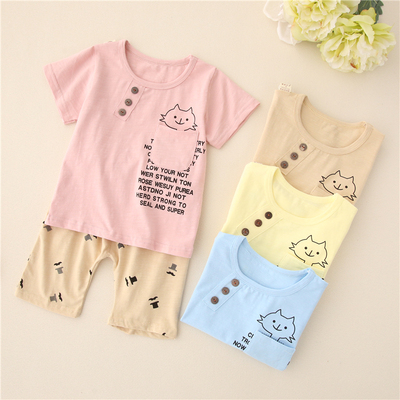 b67de57d2e215 Summer models children's clothing baby clothes short sleeve suit boys and girls  cotton thin summer baby sports suit 0-2 years old