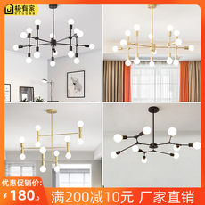 Simple modern Nordic living room chandelier branch type molecular lamp creative personality industrial wind magic bean bedroom lamps