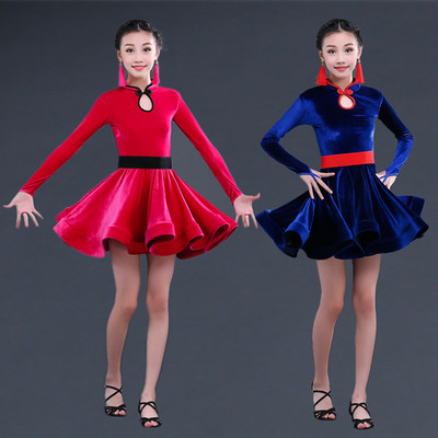 Children's Latin dance dress girl's dance dress children's Latin dance performance costume girl's long sleeve