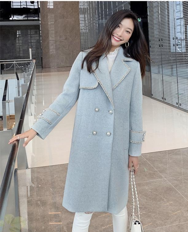 清新减龄蓝色毛呢大衣,尽显优雅魅力