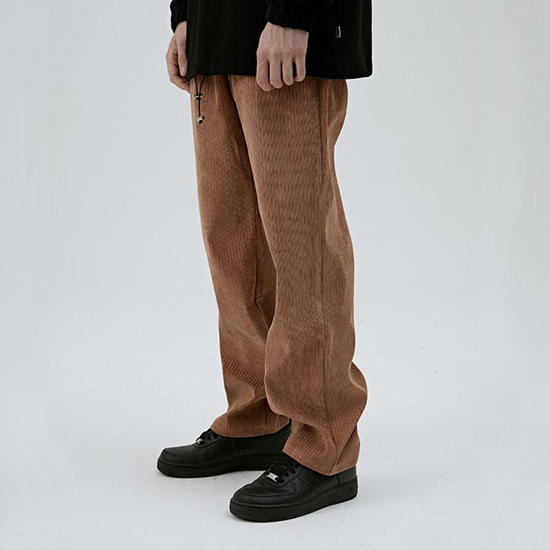 CHIGGALAB ma vàng mùa thu và mùa đông retro giặt quần nhung kẻ lỏng lẻo thẳng dụng cụ hoang dã - 3/4 Jeans