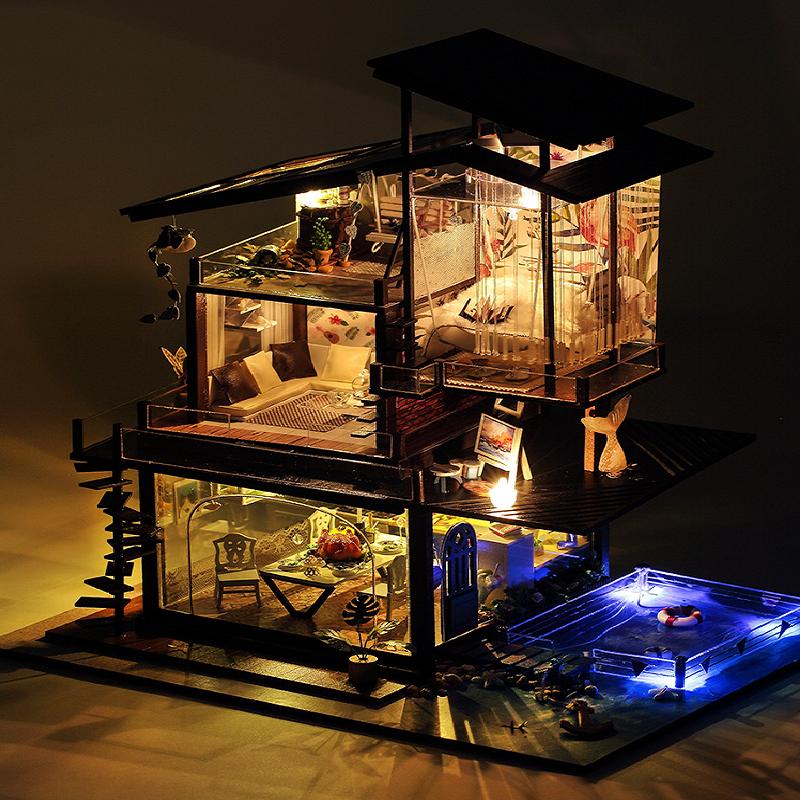 diy小屋别墅手工制作巴伦西亚房子模型拼装玩具创意生日礼物女生