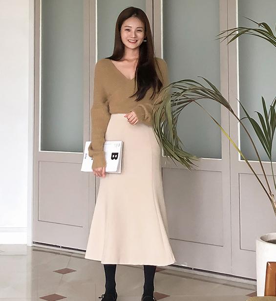 韩国代购2018秋季韩版女轻熟a半身及踝字形时尚气质裙过膝长裙子