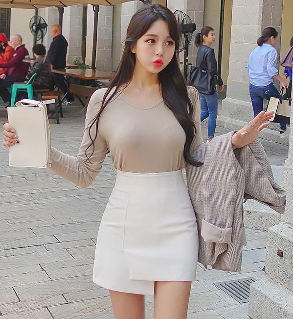 2019韩国代购春秋季韩版裙子新款a半身字形经典高腰女士裙短经典