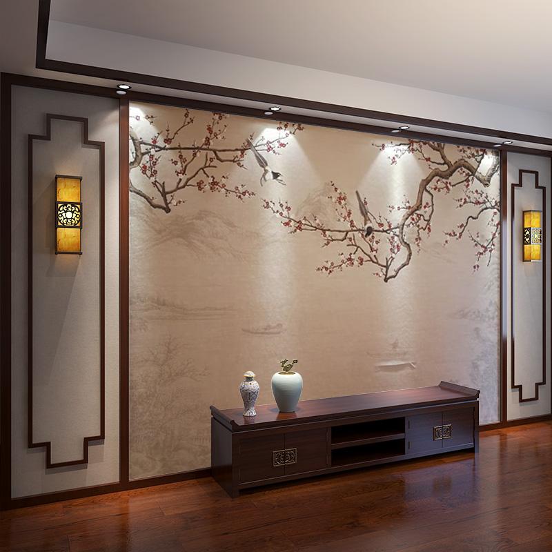 2019电视机壁画墙墙纸中式背景壁纸墙影视梅花古风定制客厅墙壁布
