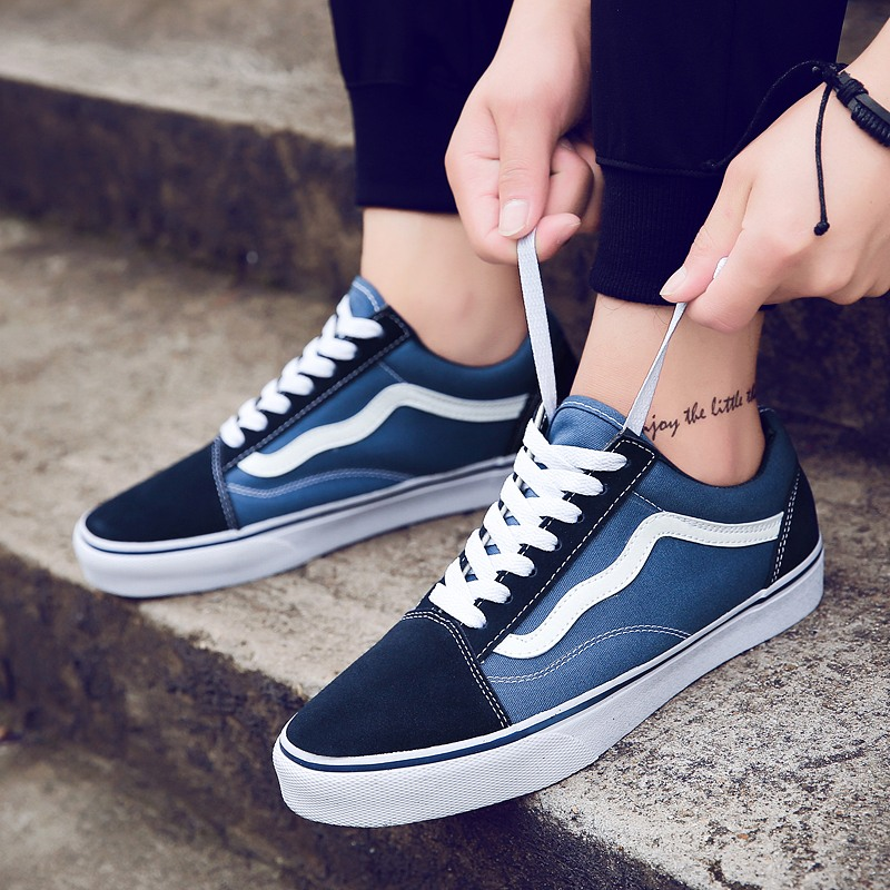 2a8a8d293885 Vance men s shoes blue low to help board shoes old skool blue and white  classic women s shoes student skateboard shoes canvas shoes
