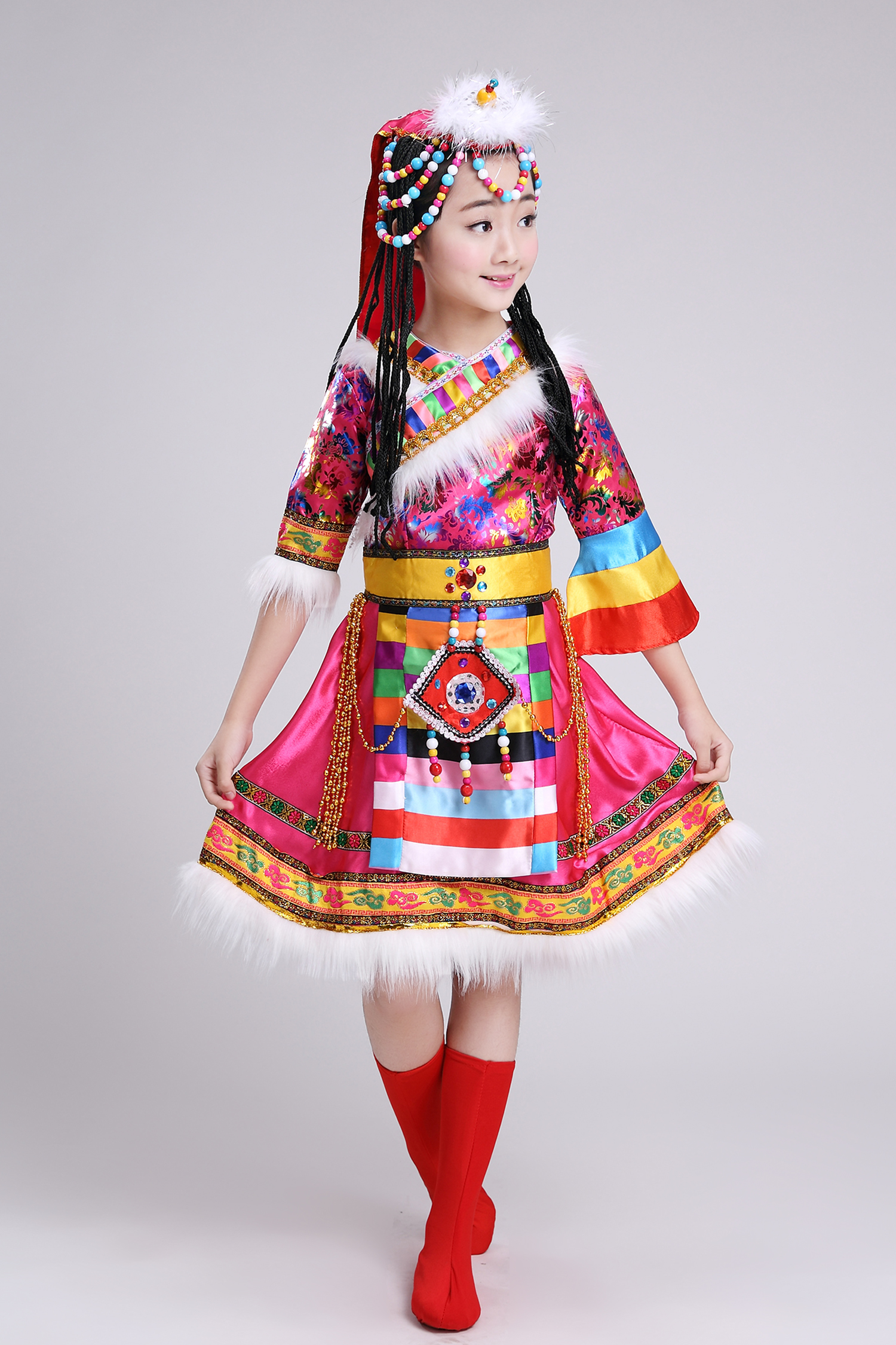 女童藏族特色表演水袖女少数民族服装服装儿童服饰西藏演出服舞蹈