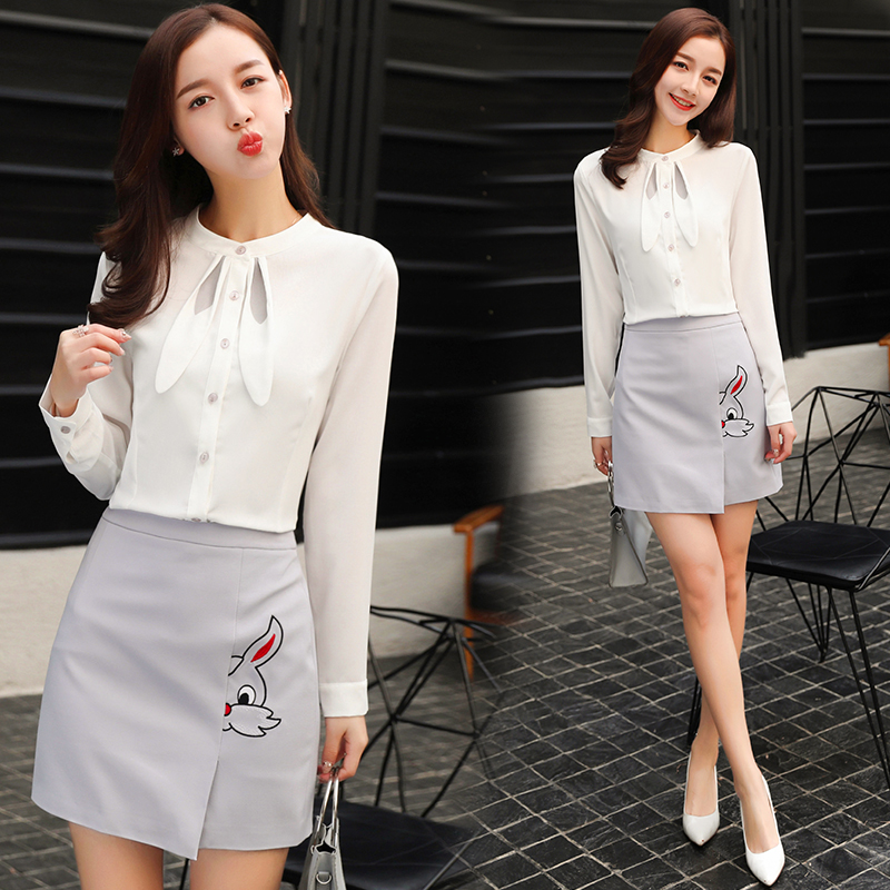Real Dress Skirt Set Two Sets Of New Wave Of Korean Version Of The White Pink Shirt Skirt Skirt Fashion Skirt