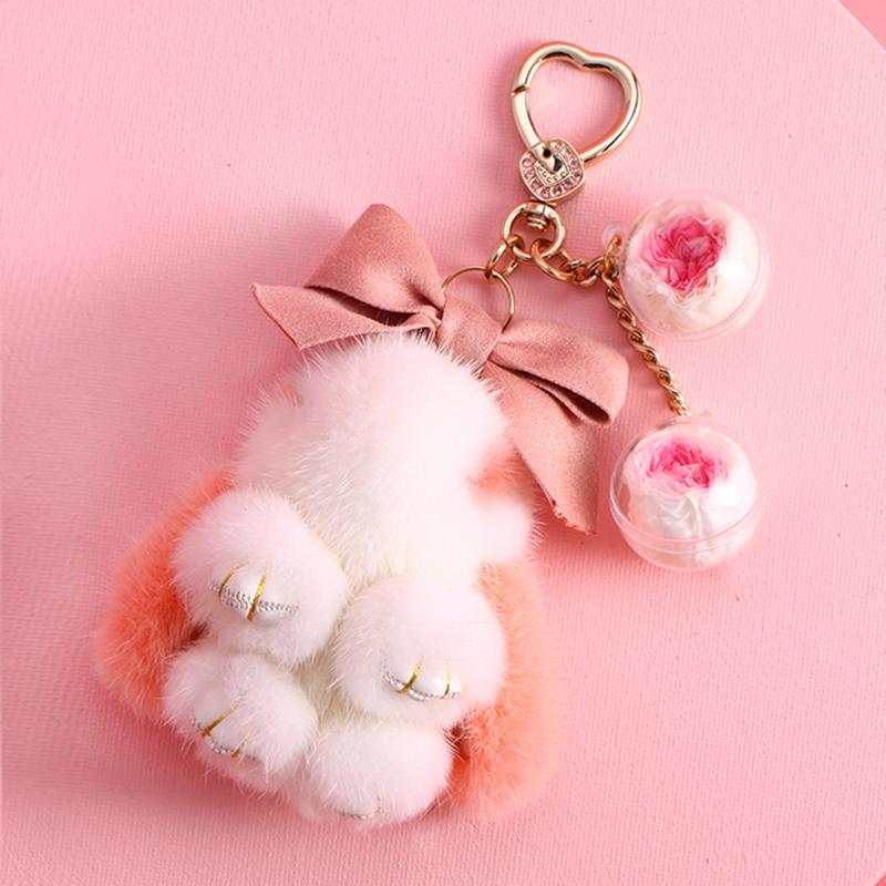 可爱兔子钥匙扣女ins网红包包挂件毛球永生花钥匙链毛绒挂饰礼物