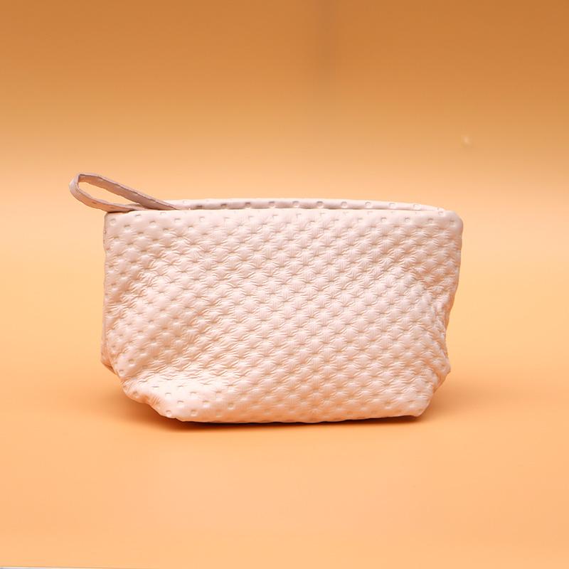 兰蔻专柜赠品包新款淡粉色压纹化妆包手提包收纳包手感柔软小可爱