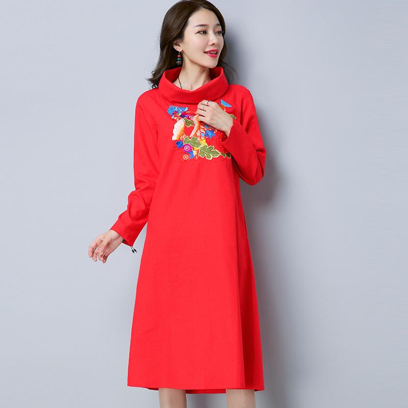 2018民族新款春装风绣花修身长棉麻复古长袖裙子连衣裙中长款女