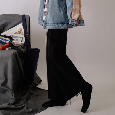 唐姐/牛仔裤女直筒宽松新款潮高腰显瘦黑色裤子阔腿裤老爹裤