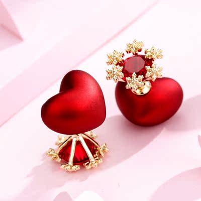 红色心形雪花耳钉女前后双面耳环