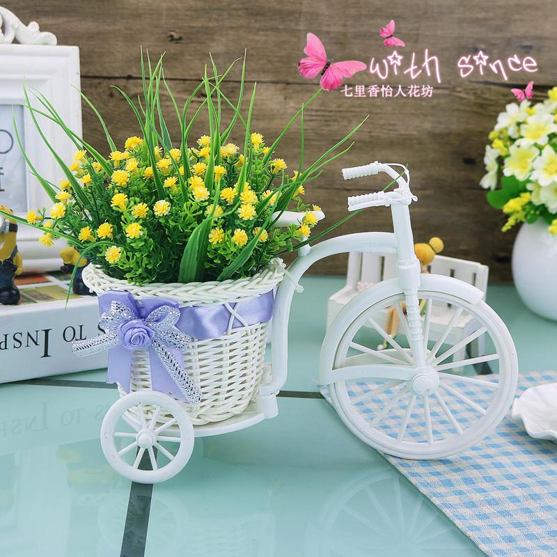 仿真盆花假花小花车摆件 客厅装饰品花小盆景茶几办公桌装饰花卉