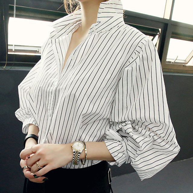 Yanrong 2020 autumn new women's tops all-match blouses are thin striped long-sleeved blouses