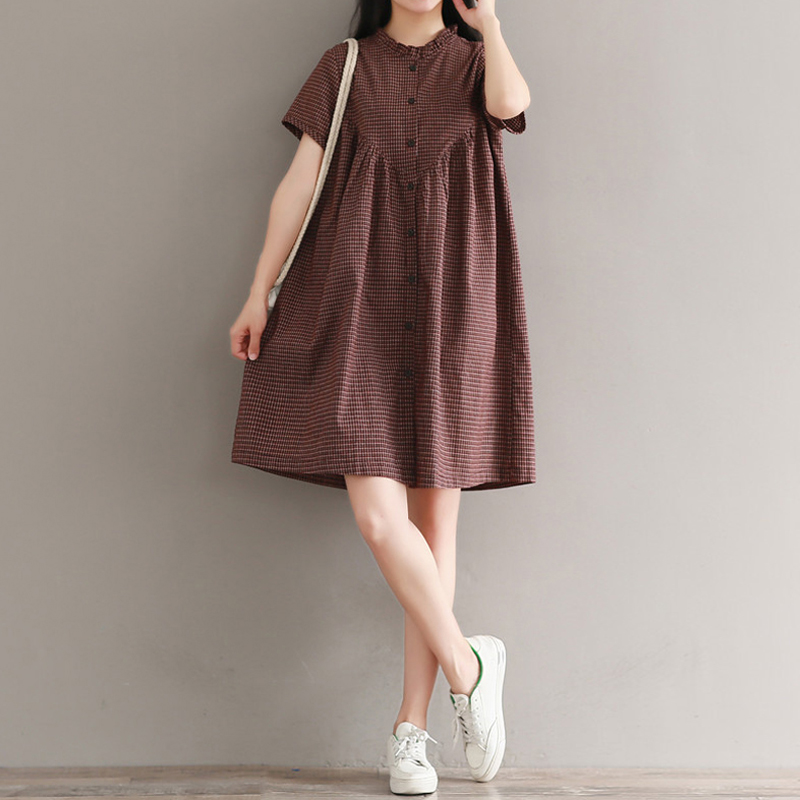 Retro bằng gỗ kẻ sọc giản dị váy sơ mi nữ mùa hè rộng kích thước lớn vừa và dài văn học ngắn tay cotton và vải lanh - Sản phẩm HOT