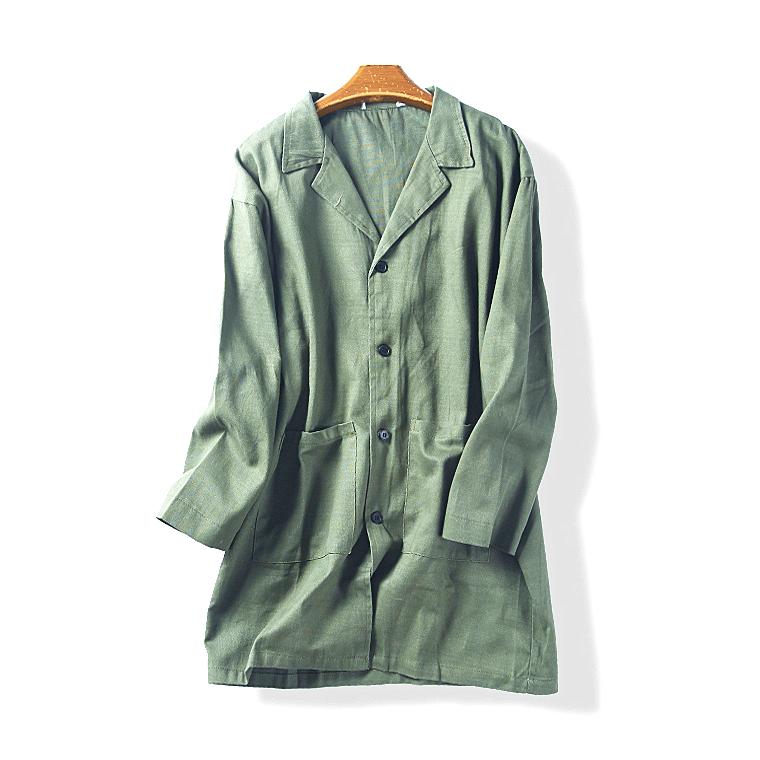 35504 mùa xuân và mùa thu người đàn ông mới của bông và vải lanh nghệ thuật ve áo nhỏ thẳng màu rắn áo gió áo dài tháng sáu 1