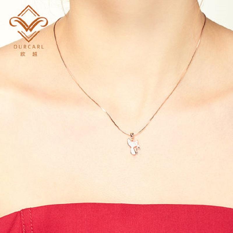 项链女纯银玫瑰金简约气质小众18K彩金锁骨链网红送女友生日礼物