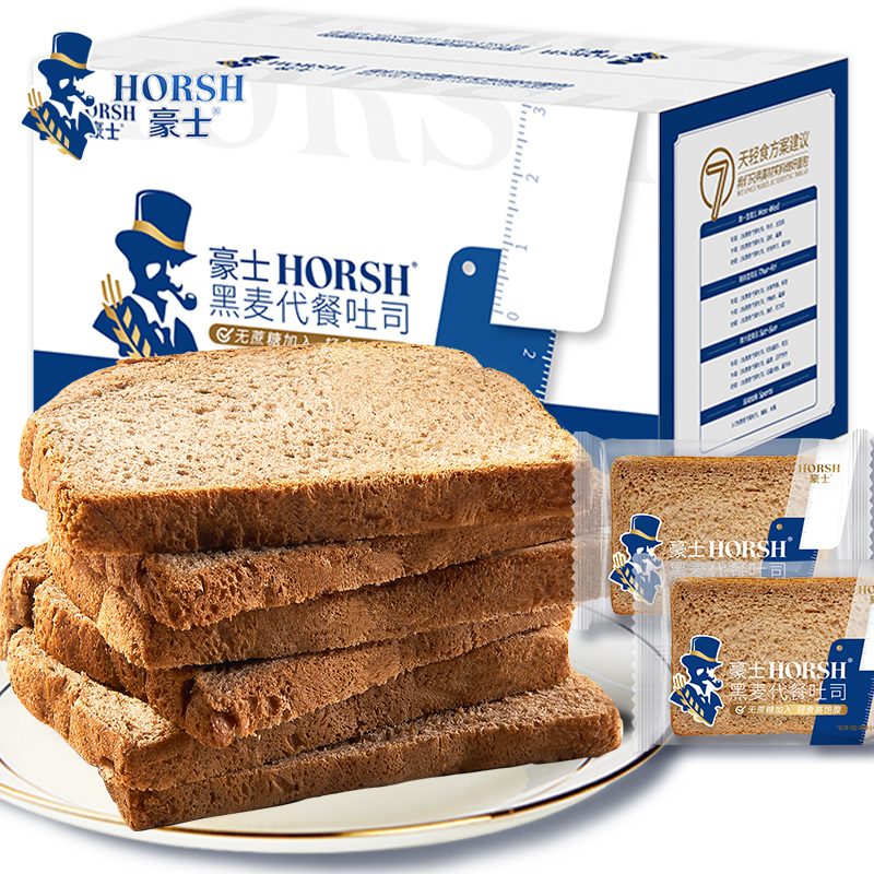 无蔗糖、低脂低卡:豪士 黑麦代餐吐司面包 500g