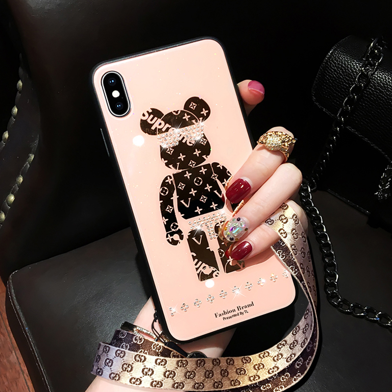 苹果x手机壳女8plus小熊xr钢化玻璃7p时尚xsmax全包iphone11pro网红6splus保护套个性xs创意带钻抖音挂绳潮牌