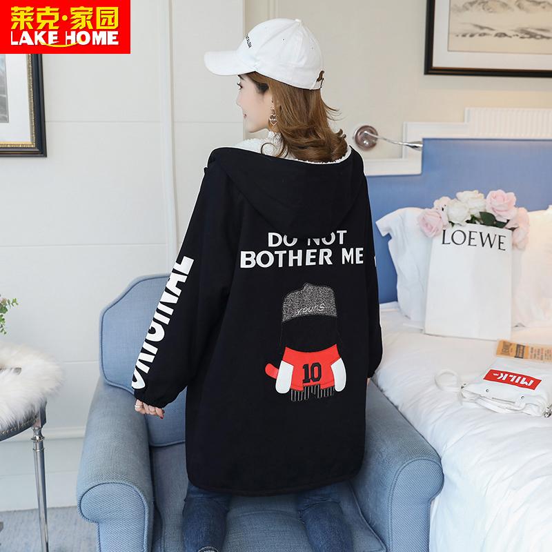 加绒加厚冬装风衣少女2019新款学生高中羊羔韩版中长款初中毛外套