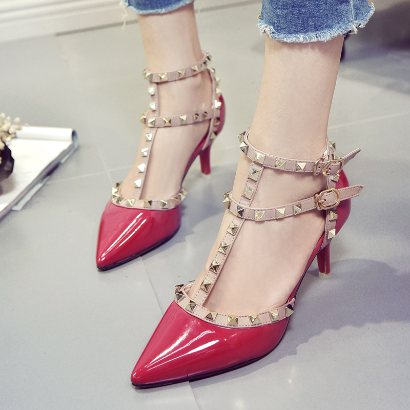 dcc05c3c2424 High Quality Brand Designer Rivet Shoes Patent Leather Studded Slingback  Heels Sandals Sexy Women High Heels Sandals Pumps Wedges Espadrilles From  Gaya